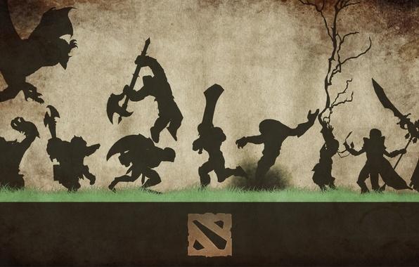 Картинка трава, оружие, фон, лого, силуэты, фигуры, персонажи, Dota 2