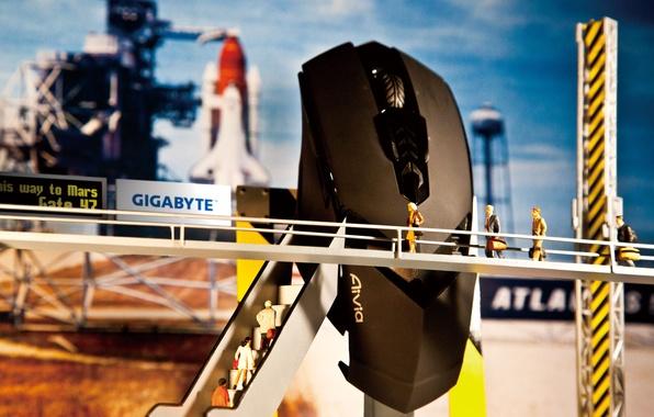 Картинка мышь, запуск, космодром, GigaByte, на Марс, Aivia