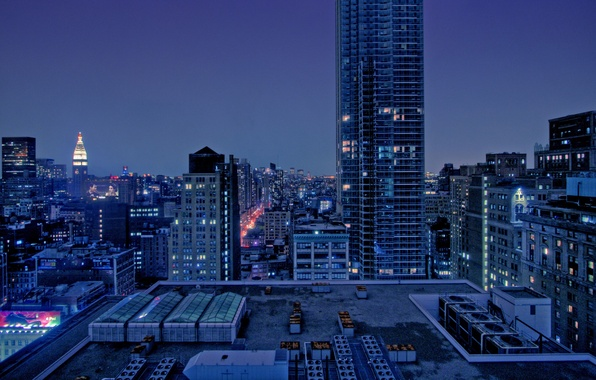 Картинка пейзаж, ночь, city, город, дома, night, view, builds