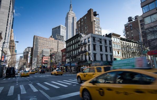 Картинка дорога, город, улица, вид, здания, дома, Нью-Йорк, небоскребы, такси, USA, США, Манхэттен, New York, Manhattan, …