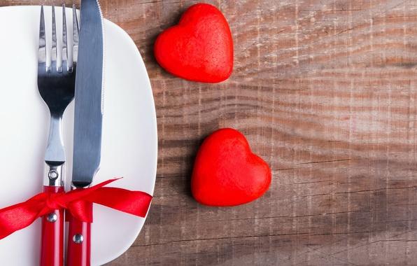 Картинка нож, сердечки, love, вилка, бант, heart, romantic, сервировка