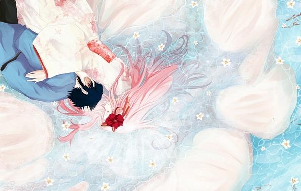 Картинка вода, девушка, цветы, аниме, арт, наруто, парень, кимоно, naruto, uchiha sasuke, haruno sakura, humonster