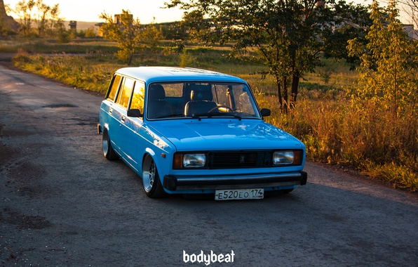 Фото обои универсал, ВАЗ-2104, голубая, четвёрка, Жигули, Россия, Тюнинг, Rus, bodybeat