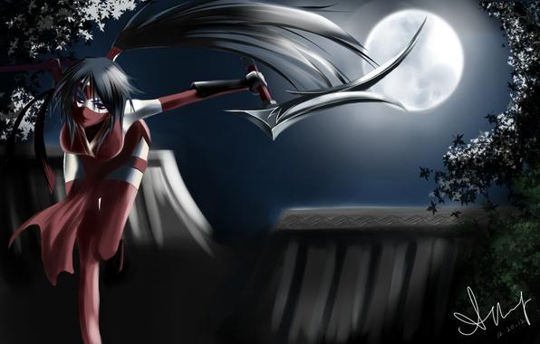 Картинка девушка, ночь, оружие, луна, арт, league of legends, akali, blackrosekjl