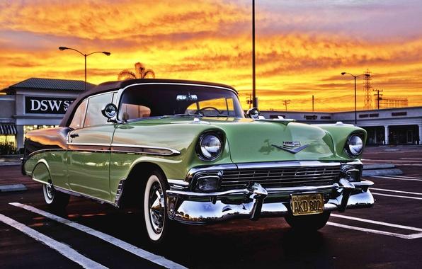 Картинка ретро, Chevrolet, автомобиль, классика, передок