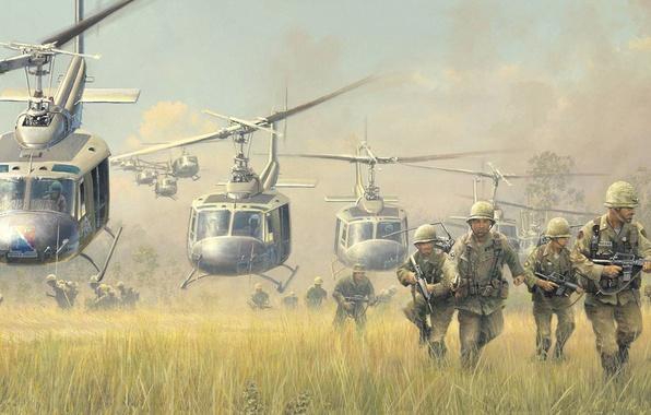 Картинка война, рисунок, солдаты, высадка, Bell, вьетнам, кавалерия, вертолёты, UH-1, Iroquois, Huey, найти и уничтожить