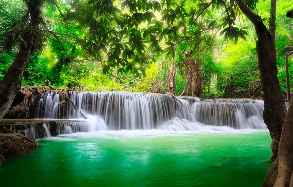 Картинка водопад, forest, river, water, waterfall, flow, emerald