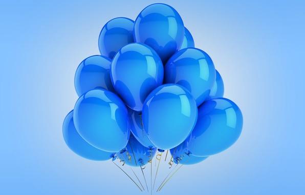 Картинка воздушные шары, blue, celebration, holiday, balloons