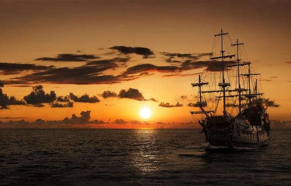 Фото обои море, закат, корабль, парусник, фрегат