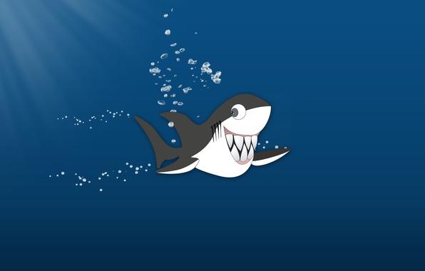 Картинка океан, зубы, Акула, веселая