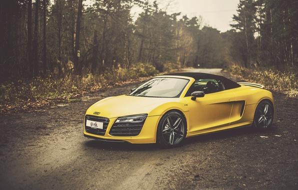 Картинка Audi, yellow, Spyder, front, V10