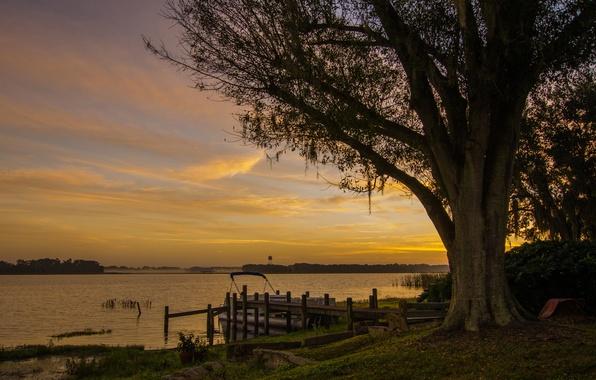 Картинка закат, озеро, дерево, берег, лодка, вечер, причал, лавочка, Канада, Agnes Lake