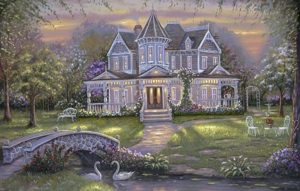 Картинка цветы, мост, природа, дом, пруд, люди, сад, живопись, Robert Finale, лебеди, искусство, особняк