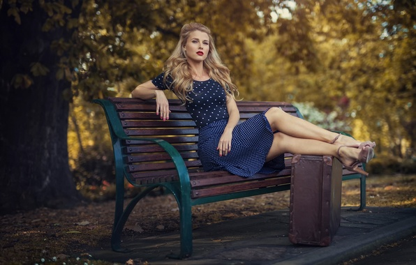 Картинка город, ретро, парк, платье, чемодан, скамья, Vintage