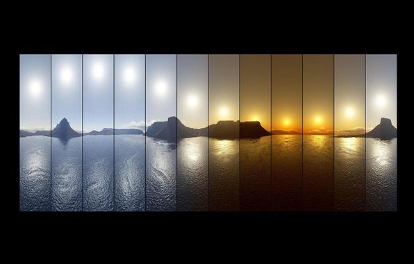 Картинка небо, вода, ночь, природа, озеро, гора, тень, утро, день, День