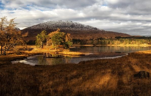 Картинка трава, облака, деревья, горы, озеро, берег, Шотландия, lake Tulla