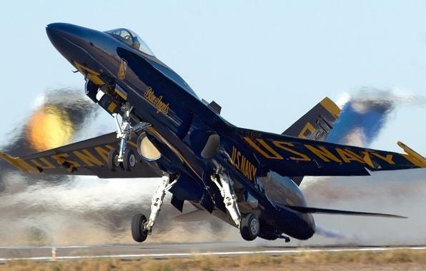 Картинка взлёт, F-18, угол атаки, blue angels