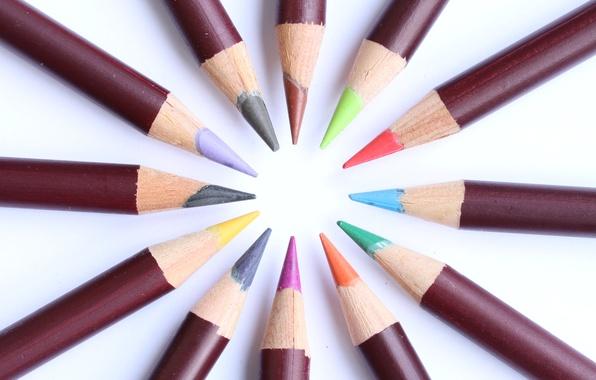 Картинка цветные, круг, карандаши, грифель