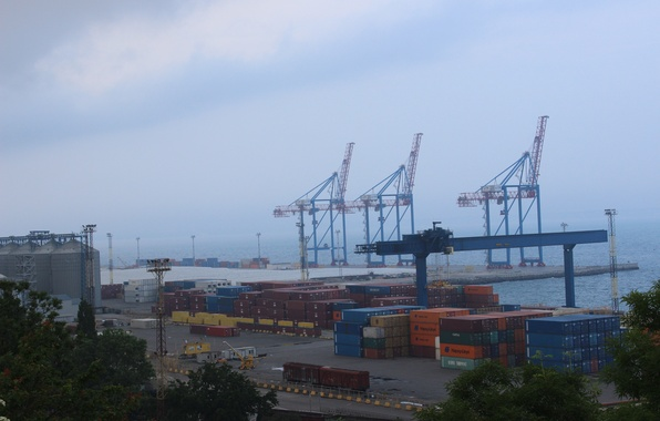 Фото обои Порт, контейнеры, краны