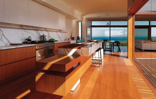 Картинка море, стол, стулья, интерьер, техника, окно, кухня, шкафы
