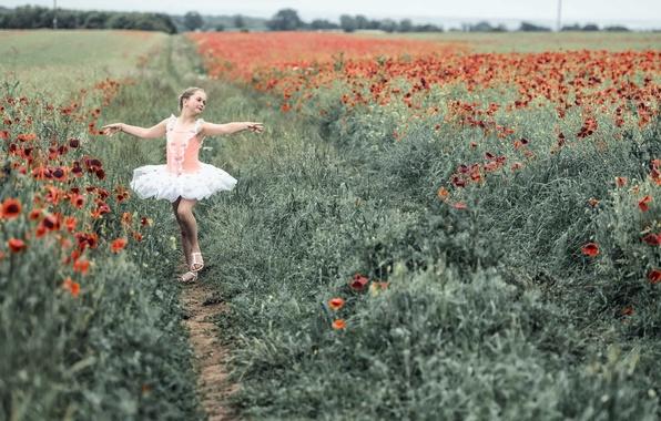 Фото обои девочка, поле, танец, маки