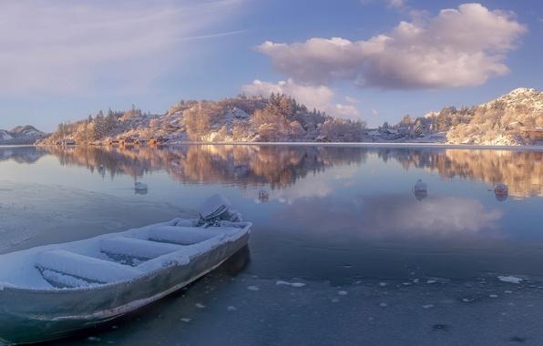 Картинка зима, озеро, лодка, Норвегия, Norway, Ругаланн, Egersund, Эйгерсунн, Rogaland county