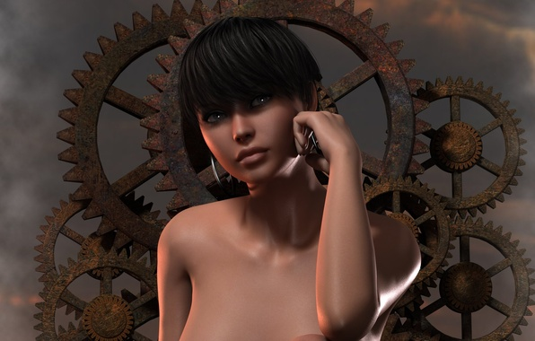 Картинка взгляд, девушка, лицо, рендеринг, фон, волосы, серьги, руки, шестеренки, плечи