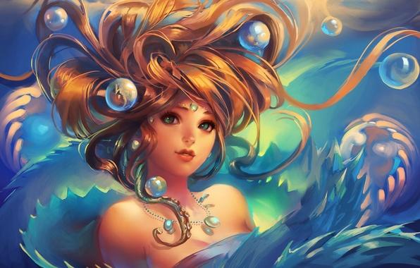 Картинка девушка, украшения, пузыри, волосы, арт, под водой, sakimichan