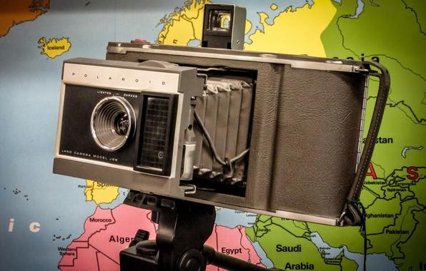 Картинка макро, фон, камера, Polaroid
