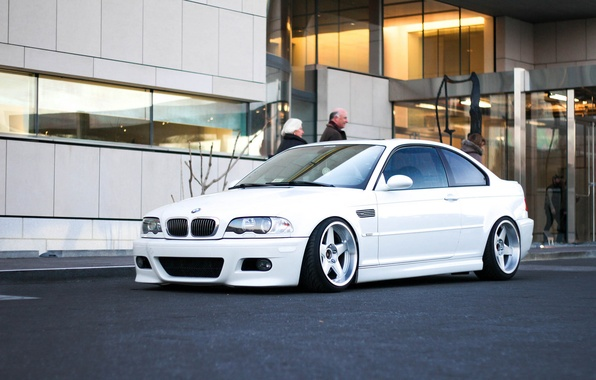 Картинка тюнинг, BMW, Белая, диски, White, E46, stance