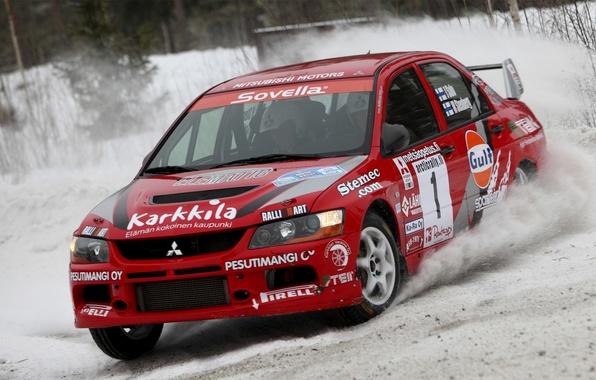 Картинка Красный, Снег, Гонка, Mitsubishi, Lancer, Evolution, Rally