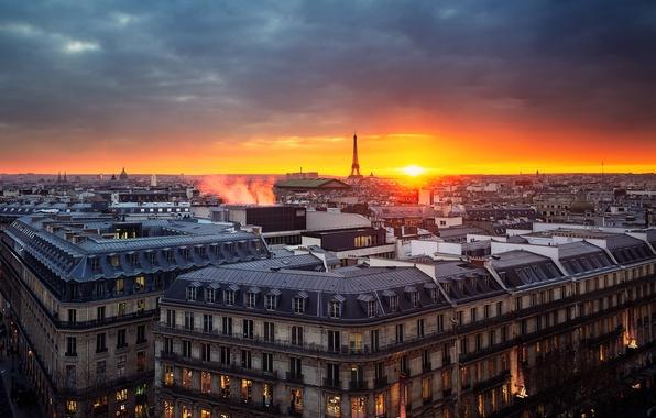 Картинка небо, закат, Париж, башня, дома, вечер, панорама, франция