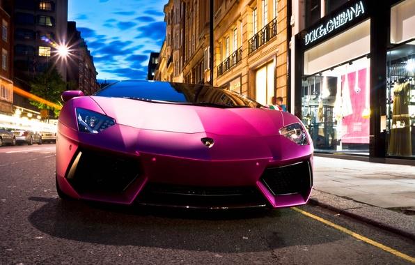 Картинка авто, улица, Lamborghini, суперкар, магазин, Aventador, purple, LP760-4, Dolce & Gabbana, Oakley Design