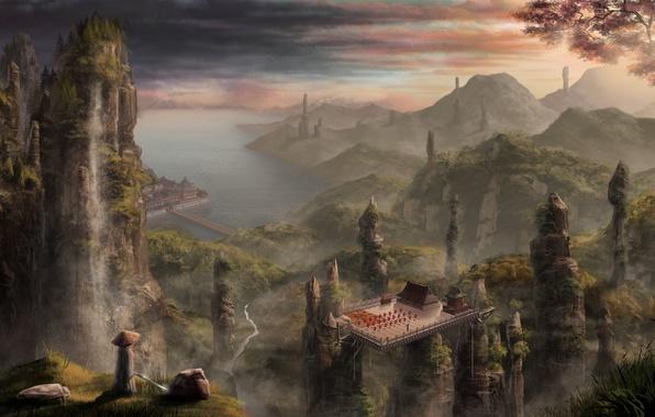 Картинка море, пейзаж, горы, скалы, китай, азия, здания, высота, арт, водопады, гавань, Andrew Palyanov