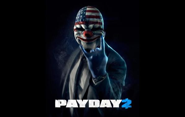 Картинка маска, черный фон, ограбление, payday 2