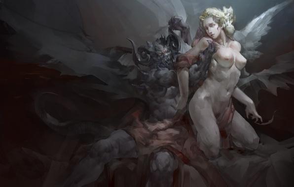 Картинка девушка, крылья, ангел, демон, арт