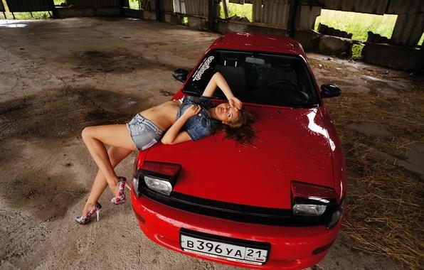 Картинка машина, девушка, Toyota, красная, jdm, тойота, celica, японец, селика, T18, слепыш