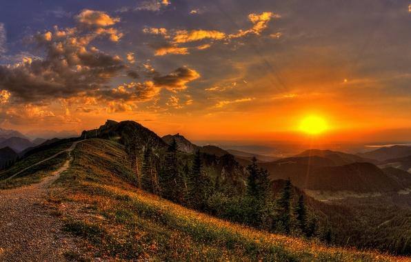 Картинка небо, трава, солнце, облака, лучи, деревья, пейзаж, закат, цветы, горы, природа, след, вид, grass, forest, …