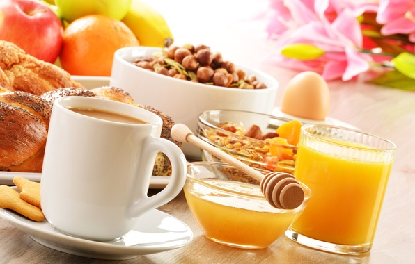 Картинка кофе, еда, завтрак, печенье, сок, мед, ложка, чашка, фрукты, орехи, блюдце, выпечка, булочки, мюсли, апельсиновый, …