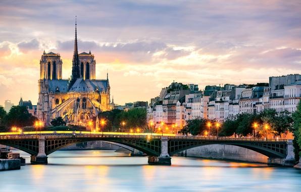 Картинка деревья, мост, город, река, Франция, Париж, здания, дома, вечер, крыши, освещение, фонари, Сена, Paris, Собор …