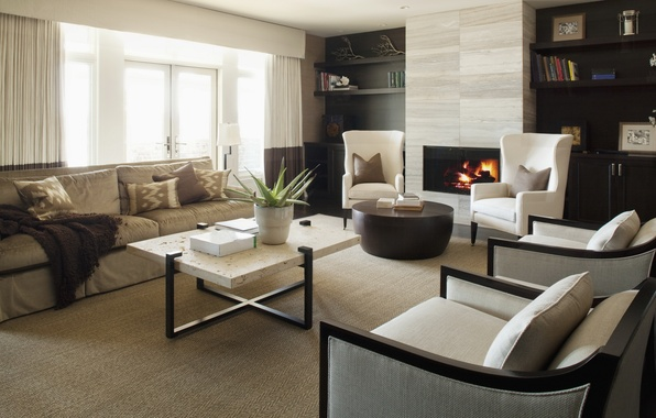 Картинка дизайн, комната, огонь, интерьер, кресло, камин, квартира, стиль. диван