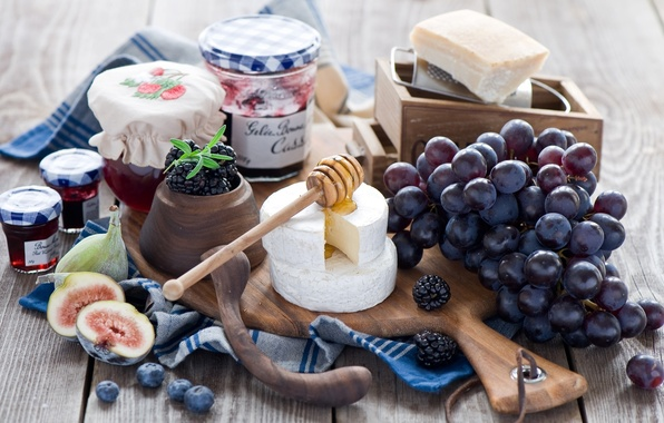 Картинка ягоды, сыр, черника, виноград, гроздь, баночки, ложка, доска, мёд, ежевика, джем, варенье, инжир, Anna Verdina
