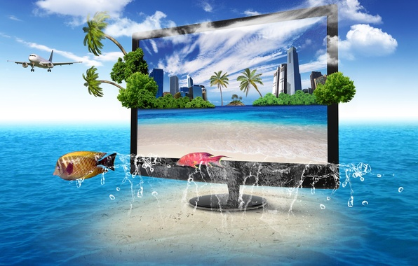 Обои картинки фото экран, телевизор, монитор, природа