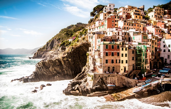 Картинка море, пейзаж, природа, скалы, побережье, здания, дома, Италия, Italy, Riomaggiore, Риомаджоре, Cinque Terre, Специя, Province …