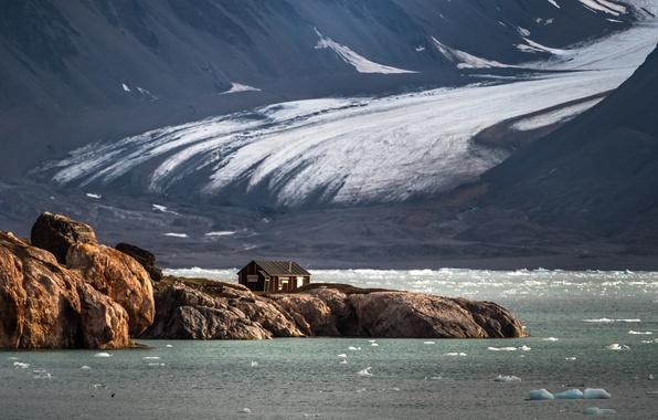 Картинка арктика, сергей доля, Шпицберген, дом на краю земли, море северное