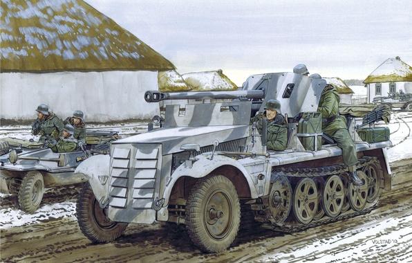 Картинка дорога, улица, рисунок, деревня, арт, солдаты, Вторая мировая война, САУ, немецкая, противотанковая, 50-мм, 5cm, PaK38 ...