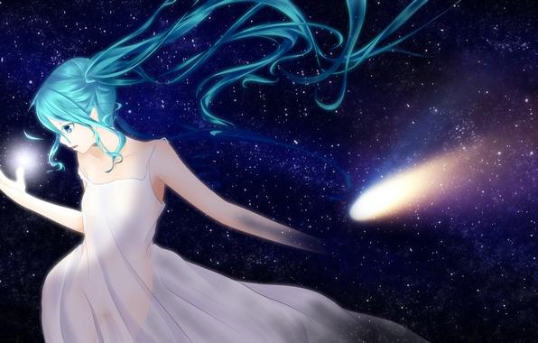 Картинка небо, девушка, звезды, аниме, арт, vocaloid, hatsune miku, ponta
