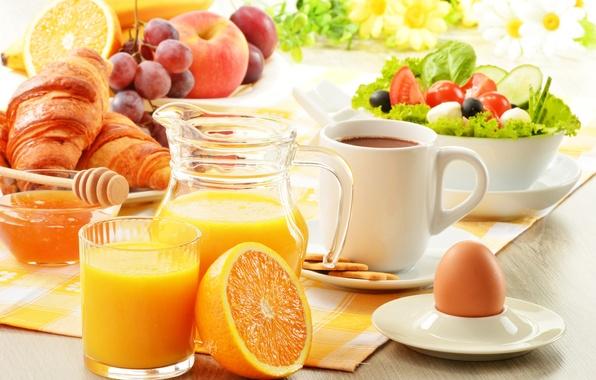 Картинка стакан, яйцо, яблоко, апельсин, печенье, тарелка, виноград, бананы, кружка, кувшин, фрукты, мёд, помидоры, салфетка, огурцы, …