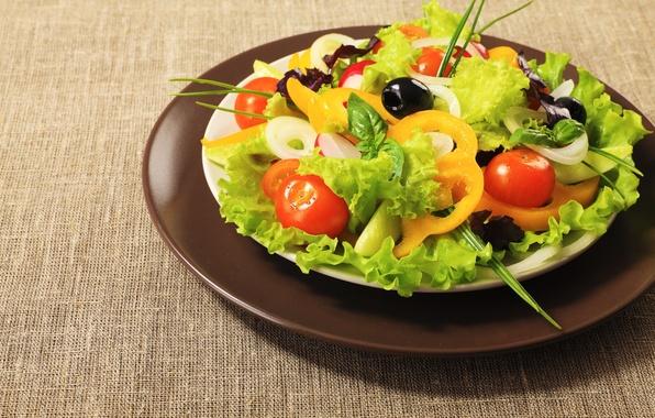 Картинка фон, обои, еда, wallpaper, перец, томат, помидор, широкоформатные, background, полноэкранные, HD wallpapers, салат, полезное, широкоэкранные
