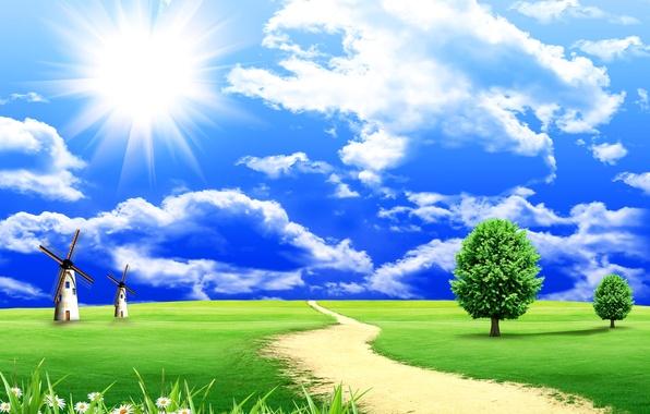 Картинка дорога, зелень, поле, небо, трава, солнце, облака, деревья, пейзаж, природа, ромашки, мельницы